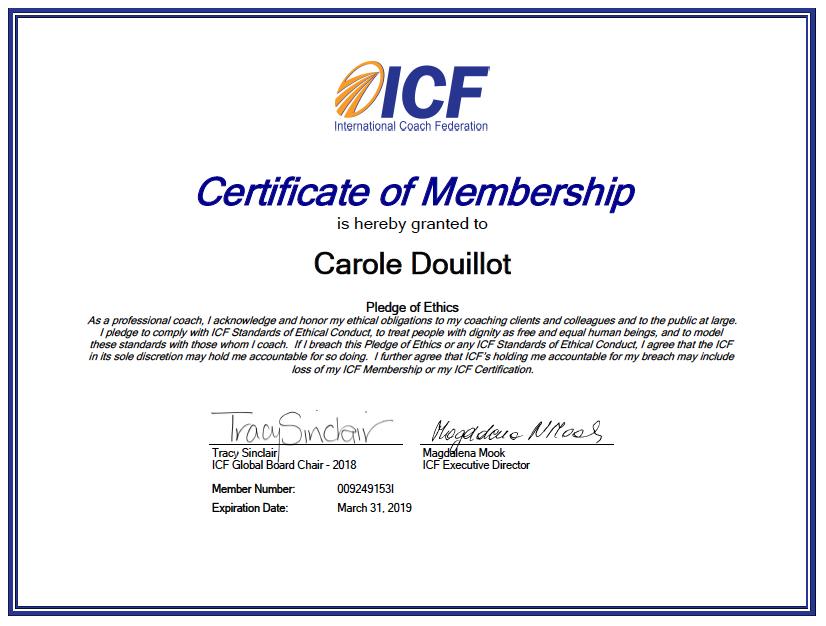 ICF-membership-certificate-Carole-Douillot-CD-coaching